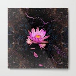 Gentle Lotus on grunge rust Metal Print