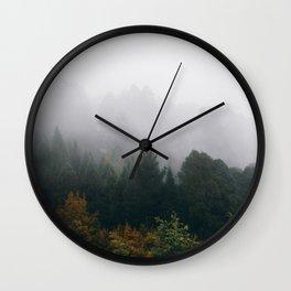 Foggy Mountain Wall Clock