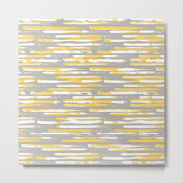 Colorful Stripes, Abstract Art, Yellow and Gray Metal Print