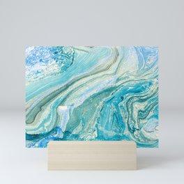 Blue Liquid Marble Mini Art Print