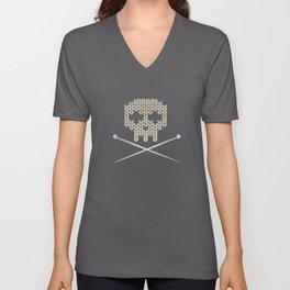 Knitted Skull - Black on Beige Unisex V-Neck