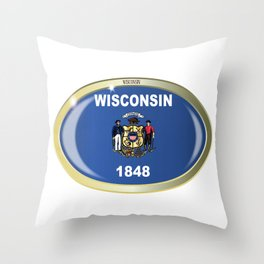 Wisconsin State Flag Oval Button Throw Pillow