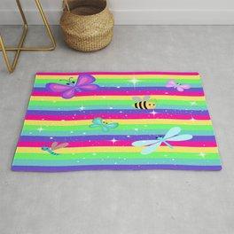 Butterflies & Rainbow Stripes Rug