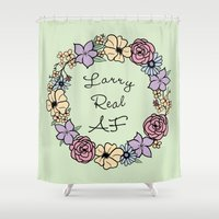 larry Shower Curtains featuring Larry Real AF by LithiumCrystal