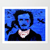 edgar allen poe Art Prints featuring Edgar Allen Poe by Pluto00Art / Robin Brennan