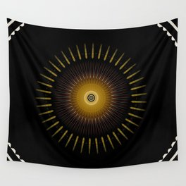 Modern Circular Abstract with Gold Mandala Wall Tapestry