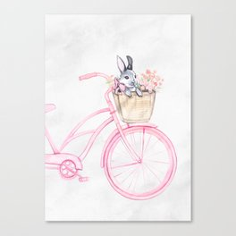 Rabbit and Bicycle Canvas Print