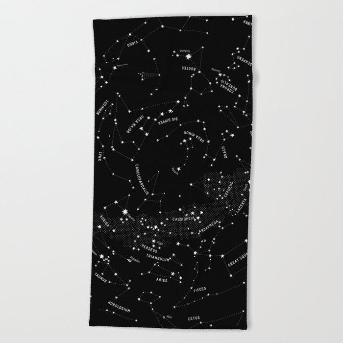 Constellation Map - Black Beach Towel