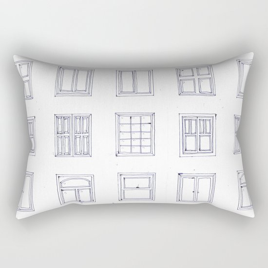 windows sketch Rectangular Pillow