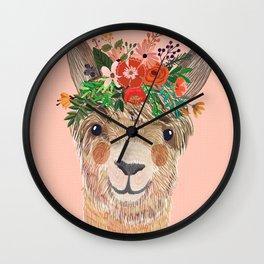 Llama with Flower Crown by Mia Charro Wall Clock