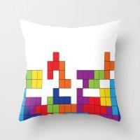 tetris Throw Pillows featuring Tetris by Jennifer Agu