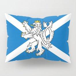 Blue and White Scottish Flag with White Lion Pillow Sham