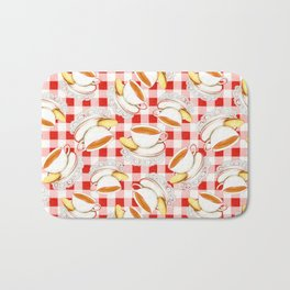 Cup of Tea, a Biscuit and Red Gingham Bath Mat