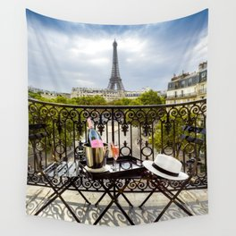 Eiffel Tower Paris Balcony View Wall Tapestry