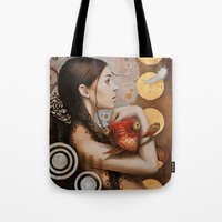 moulin rouge Tote Bags featuring Rouge by Sophie Wilkins