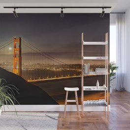 GOLDEN GATE BRIDGE & MOON PHOTO - SAN FRANCISCO NIGHT IMAGE - CALIFORNIA PICTURE - CITY PHOTOGRAPHY Wall Mural