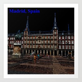 Neon Art of a plaza in Madrid, Spain Art Print