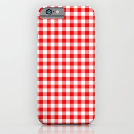 Valentine Red Heart Rich Red and White Buffalo Check Plaid iPhone Case