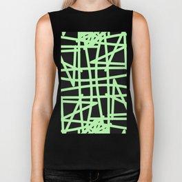 Black and neon green modern abstract pattern Biker Tank