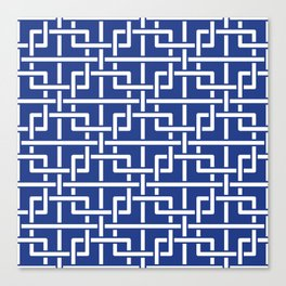 Tangled squares Chinoiserie in blue & white Canvas Print