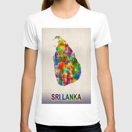 Sri Lanka Map in Watercolor T-shirt