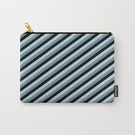 Powder Blue, Light Slate Gray & Black Colored Lines Pattern Carry-All Pouch