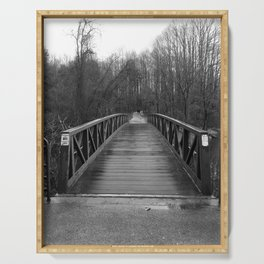 Lonely Bridge in Winter Woods Serving Tray