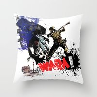 poland Throw Pillows featuring Poland Wara! by viva la revolucion