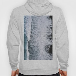 Aerial of a Black Sand Beach with Waves - Oceanscape Hoody