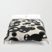 miyazaki Duvet Covers featuring Cute Susuwatari Infestation by Puddingshades