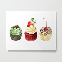 Three Cupcakes Metal Print