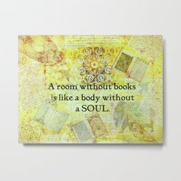 Book Reading Books quote Cicero Metal Print