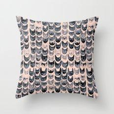 Black & Pink Cats Throw Pillow