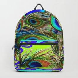 BLUE PEACOCK FEATHER ART NOVEAU DESIGN Backpack