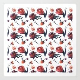 Artistic hand painted orange purple floral tulips pattern Art Print