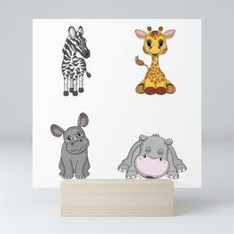 Cute African Animals Mini Art Print