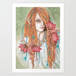 Crimson Wings - Enchanted Visions Project Art Print