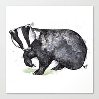 badger Canvas Prints featuring Badger by ZOO (William Redgrove)
