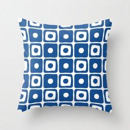 Mid Century Square Dot Pattern Blue Throw Pillow