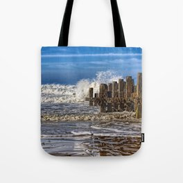 White horse on walcott beach Tote Bag