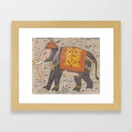 Vintage Decorated Elephant Painting (17th Century) Framed Art Print