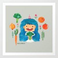 Broccoli Veggie Monster Art Print