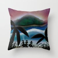 paradise Throw Pillows featuring Paradise by ShaylahLeigh