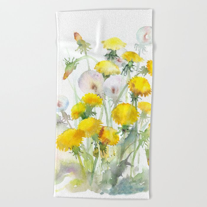 Watercolor yellow flowers dandelions Beach Towel