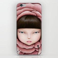 head of girl in rose petal with key in his hand iPhone & iPod Skin