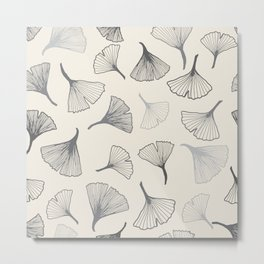 Ginko leaves grey Metal Print