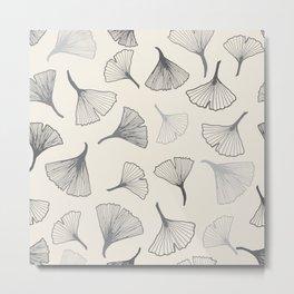 Ginko leaves grey Metal Print