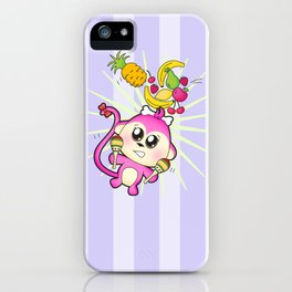 Cute baby monkey playing maracas and dancing iPhone Case
