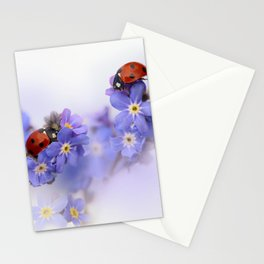 Ladybirds on Forget-me-not Stationery Cards