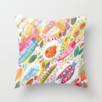 bugs Throw Pillows featuring Bugs by Mia Dunton